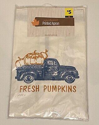 "Perfect Harvest Printed Apron 28""x32""; ""Fresh Pumpkins"" With Blue Pumpkin Truck"