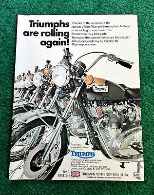 ORIGINAL 1974 TRIUMPH MOTORCYCLE MAGAZINE AD TRIDENT 750 T-SHIRT? POSTER?