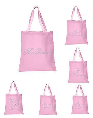Baby Pink Crystal Wedding Favour Tote Bag bride bridal hen party gift bags (Bride Tote Bag)