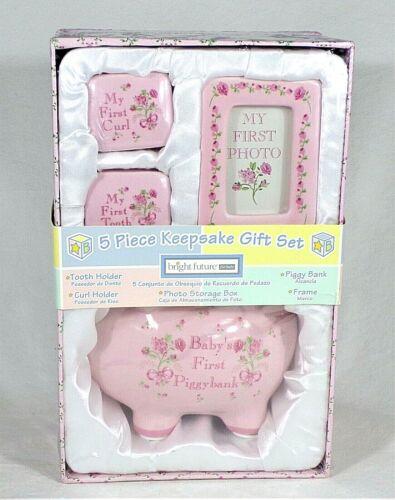 NIB BRIGHT FUTURE 5 Piece Ceramic Keepsake Gift Set Baby Girl
