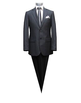 Herren Anzug gestreift Slim-Fit Gr.50 Dunkelgrau
