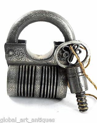 Antique Rare Indian Silver Work Tricky Screw Type heavy Iron Padlock.G2-166 US