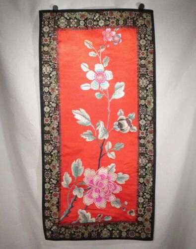 Chinese Red Silk Embroidered Rectangular Panel     -  56582