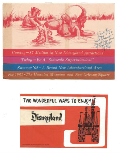 2 1962 Disneyland Brochures-Coming Attractions/Cavalcade of Bands-Concept Art