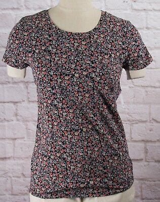 NWT Womens GAP Favorite Crew Neck T-Shirt Black Floral Modal Blend - 798710