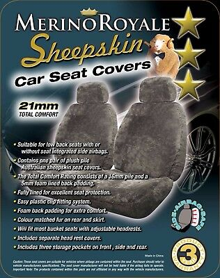Sheepskin Car Seat Covers 21mm TC to suit Ford Ranger all models 2007 on