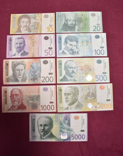 Full Serbia lot 10 20 50 100 200 500 1000 2000 and 5000 dinara UNC