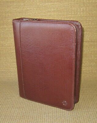 Classic Franklin Covey Brown Cowhide Leather 1.5 Rings Zip Plannerbinder