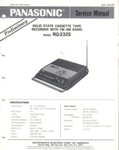 PANASONIC SERVICE MANUAL FOR RS-232S PRELIMINARY