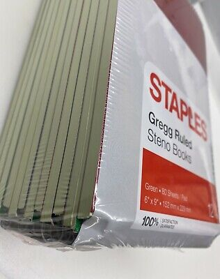 12 Staples Steno Books 6 X 9 Gregg Ruled Green 80 Sheets Each Pad Note Paper