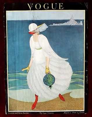 Vogue Magazine Original Cover Only ~ August 1, 1916 ~ Plank