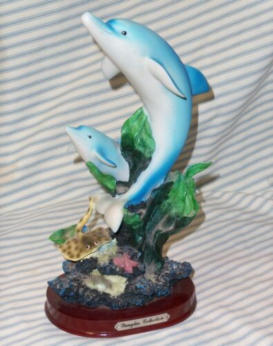 """YANGLIN COLLECTION 10"""" TALL DOLPHINS RAY FIGURINE COLLECTIBLE"""