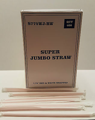 Plastic  Straws, Great Quality ,400 Red & White, Wrapped in White Paper - - White Straws