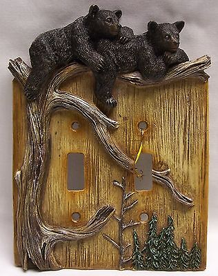 Black Bear Cubs Double Light Switch Plate Cover Rustic Cabin Home - (NAI)
