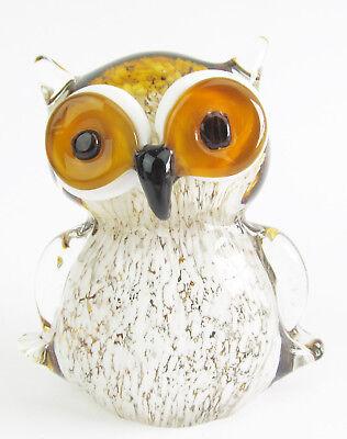 Glass Owl Sitting Figurine 12cm - Brown/Amber & White Approx 12cm High