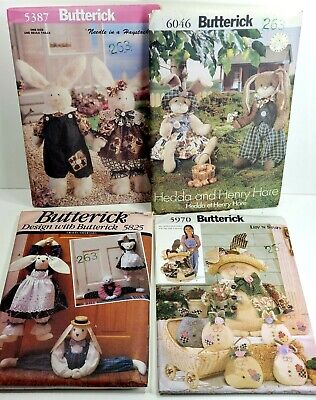 Lot of 4 EASTER BUNNY Craft Sewing Patterns UNCUT VTG 1990s Butterick RARE -