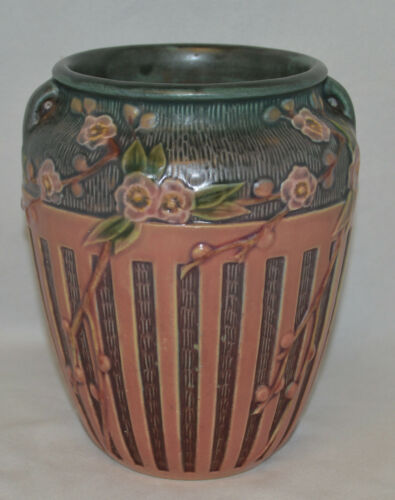 "Beautiful Roseville Pink Cherry Blossom 623-7"" Handled Vase - Excellent"