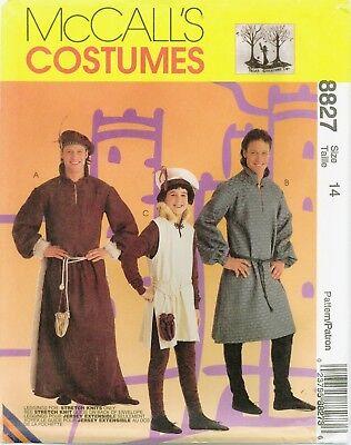 McCalls 8827 Mens Boys Medieval Renaissance Tunic Leggings Beret Pattern UNCUT (Medieval Boys)