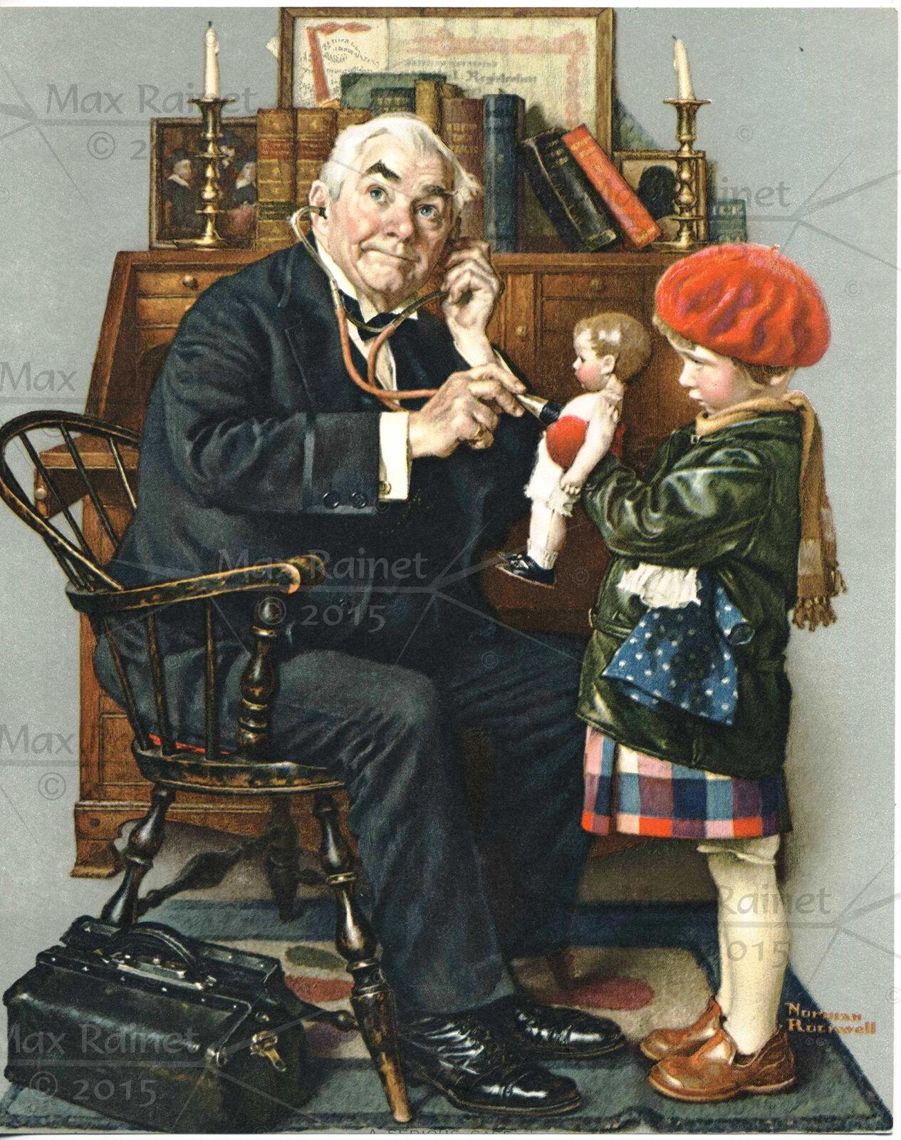 VINTAGE NORMAN ROCKWELL print doctor girl doll Kathe Kruse Lenci OLD ...