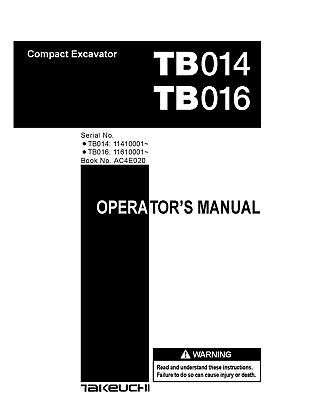 Takeuchi Tb014 Tb016 Compact Excavator Operators Instruction Manual