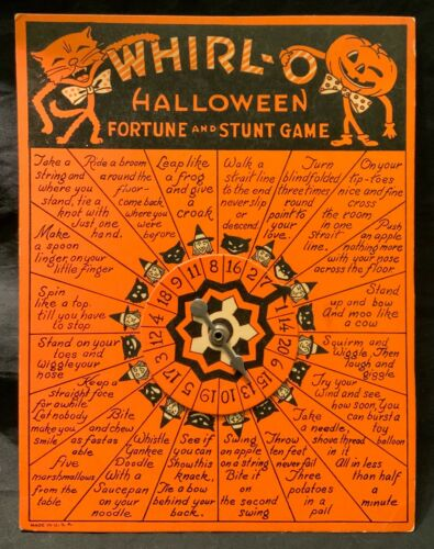 VINTAGE BEISTLE WHIRL-O HALLOWEEN FORTUNE AND STUNT GAME