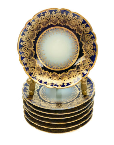 7 Sevres France Porcelain Cobalt Blue & Gilt Scalloped Rim Butter Pats c1920