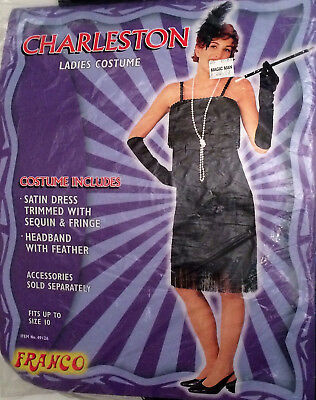 Ladies Black 1920s Flapper Costume Gatsby Dress Up Charleston Outfit To Size 10 - Charleston Dress Up