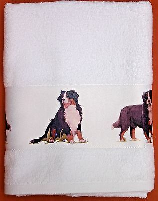 BERNESE MOUNTAIN DOG LARGE HAND/GUEST COTTON TOWEL WATERCOLOUR PRINT SANDRA COEN
