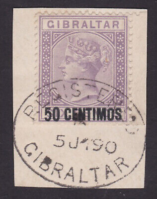 Gibraltar. 1889. SG 20, 50c on 6d bright lilac, on piece. Cat £85.