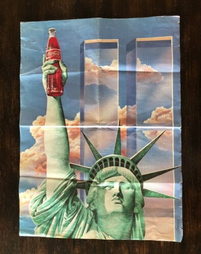 New York Twin Towers Liberty Statue Coca Cola Vintage Poster Paper Sign Advert