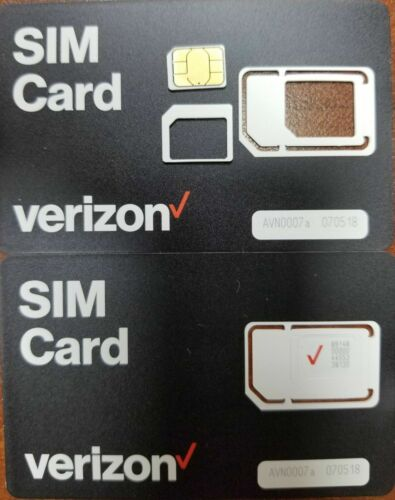 NEW VERIZON 3 in 1 4FF SIM Card • 4G LTE •  Prepaid or Contract Micro, Nano size