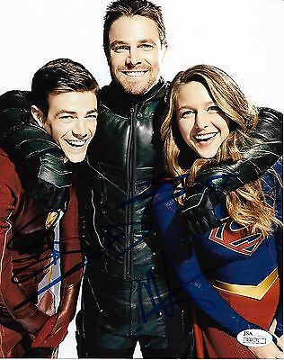 Melissa Benoist Stephen Amell Grant Gustin Autograph Signed 8X10 Photo Jsa  7