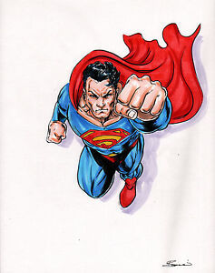 ORIGINAL-ART-SUPERMAN-by-Artist-Damon-Bowie-FULL-COLOR-PRELIM-Art-HAND-SIGNED