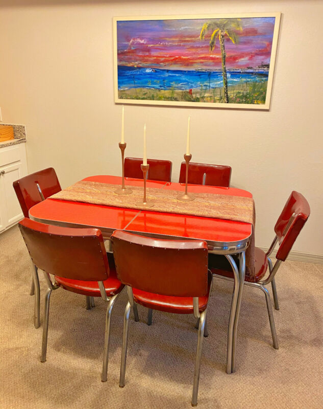 Vintage 1952 Expandable Red Formica Chrome Table Dinette Set with Vinyl Chairs