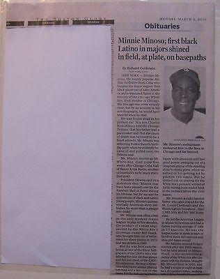 Obituary  Boston Globe 3 2 15 Minnie Minoso  83  Chicago White Sox Superstar