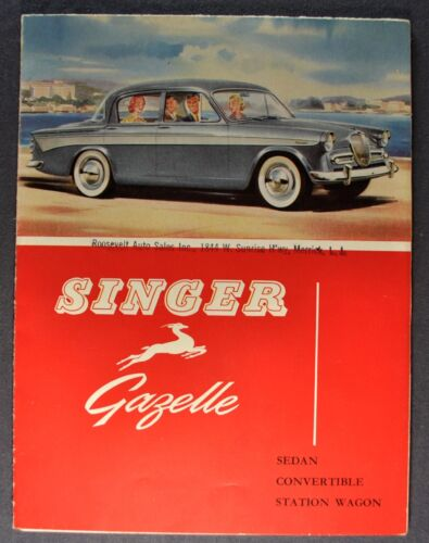 1959 Singer Gazelle Brochure Folder Sedan Convertible Wagon Nice Original 59
