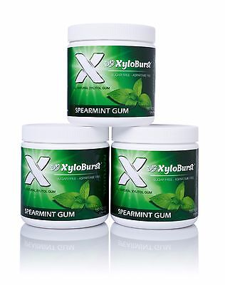 Xyloburst Spearmint All Natural Aspartame Free Xylitol Gum 100 Count Jar 3 Pack ()