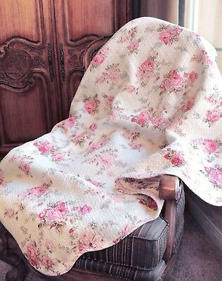 Spring Rose 100% Cotton Quilted Throw