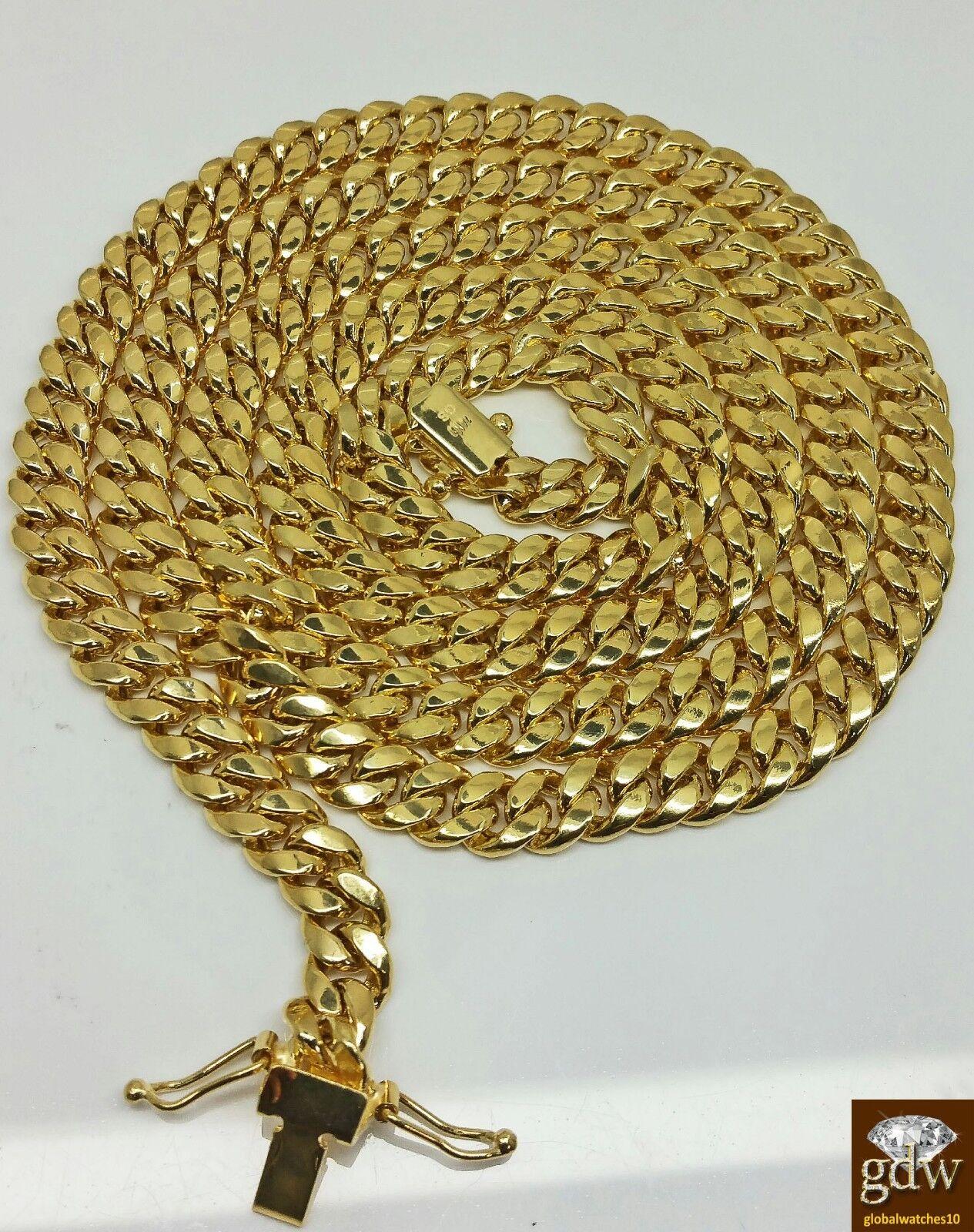 "Real 14K Yellow Gold  Miami Cuban Chain 22""  7mm BOX LOCK Men"