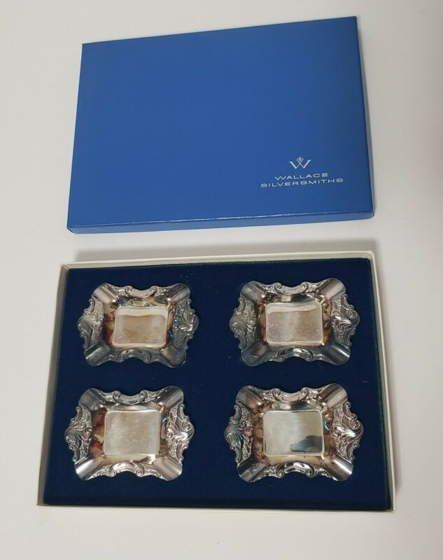 Wallace Silversmiths Silver Plated Set Of 4 Ashtrays New In Box