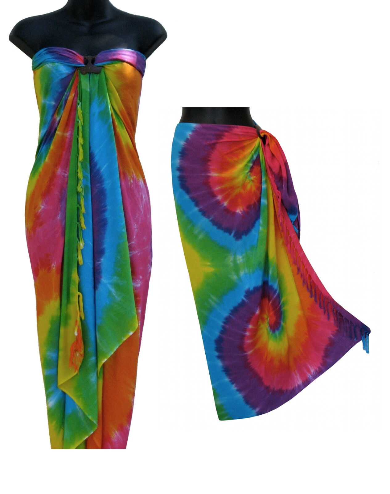 Rainbow Spiral Tie Dye Sarong Summer Beach Cover Up Skirt To