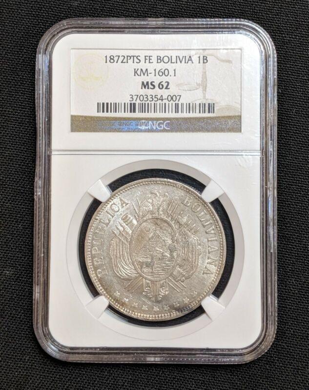 1872 PTS FE MS62 Bolivia Silver Boliviano NGC KM 160.1