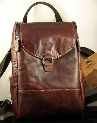 Leather Double Gusset Top Zip (Jack Georges Voyager Double Gusset Top Zip Brown Leather Backpack NWT)