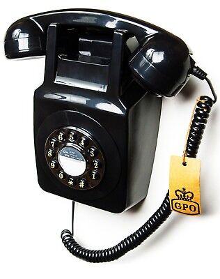 GPO 746 Push Button Retro Wall Phone - Wall Mountable - Black 746WP Telephone
