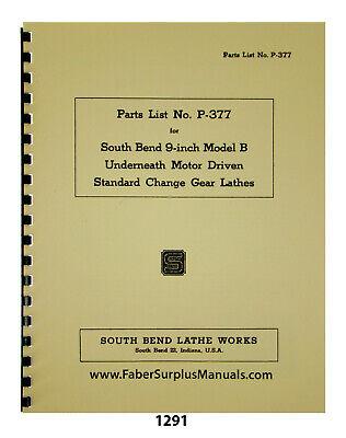 South Bend 9 Model B Lathe Standard Change Gear Lathes Parts Manual 1291