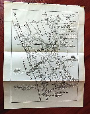 1898 Sketch Map of Operations Against Manila P.I. Gen. Arther Mac Arthur