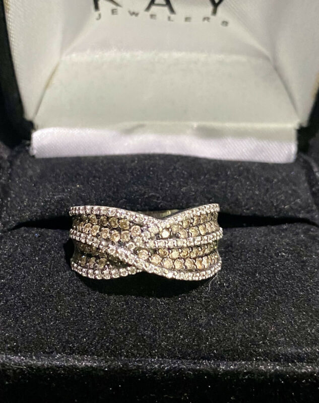 LeVian Chocolate & Vanilla Diamond Ring 14K White Gold 1.82 TW Size 8