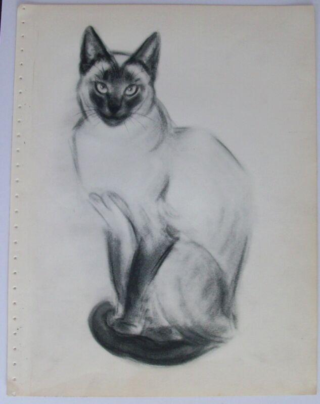Cat Print Siamese Clare Newberry Bookplate 1956 Chirn Sa-Hai Blu Lili Unmatted