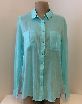 NWT ❤️ Banana Republic ❤️ Ladies AQUA Button Down Long Sleeve Shirt Sz. Large