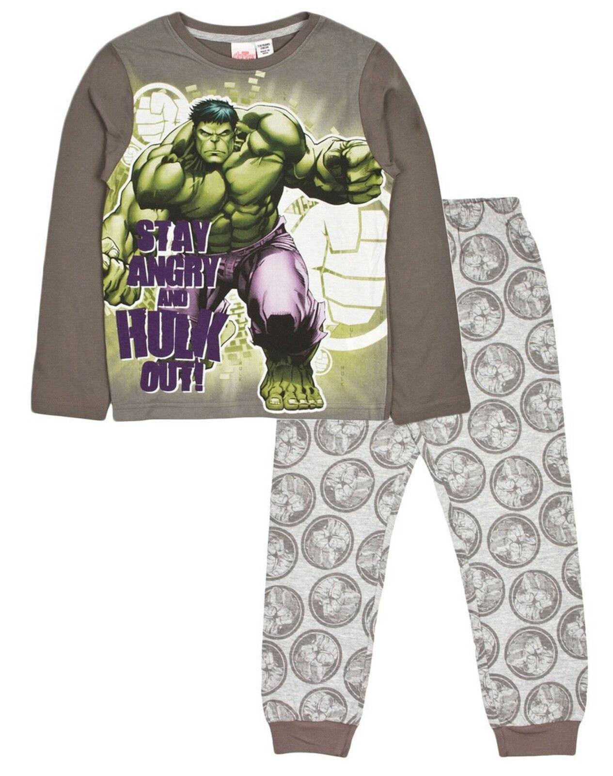 Boys Kids Hulk Avengers Character Pyjamas Nightwear PJs Long Sleeve 100/% Cotton